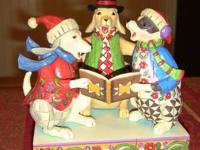 "Jim Shore Caroling Canines $30 ""Three Dogs Singing"""