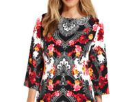 Be elegant in JM Collection's exotic-print tunic,