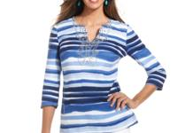 JM Collection's striped, beaded tunic top adds a