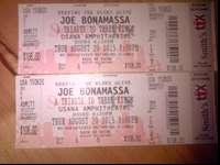 Two tickets for Joe Bonamassa, Row 6, seat 6 and 7.