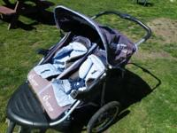 Jogging Double Stroller, Side by Side, Navy Blue with