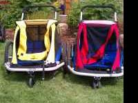 We have several bike trailers and jogging strollers -