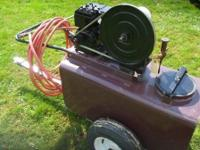 Antique John Bean tow behind sprayer. Briggs & &