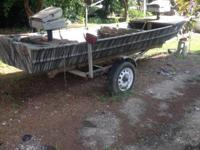 John boat 14' with trailer boat does not leak at all