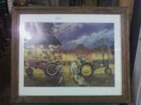 This is a tin sign that was sit in this older frame