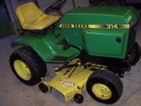John Deere 314 mid 80's runs great. has a fresh 46inch