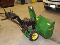 "John Deere TRS32 2 stage snow blower. 32"" clearing"
