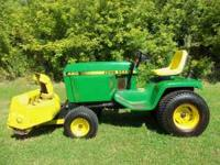 "John Deere 420 garden tractor, 20 hp Onan, 60"" shaft"