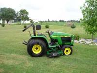 "JD 2001 4WD 4200 diesel w/ 60"" JD belly mower and JD"