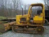 John Deere 450E Dozer, 6 way Blade, runs and operates