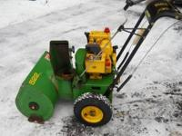 John Deere Snowblower. 5hp width is a 22''cut. Runs
