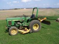 "John Deere 750 Diesel Tractor. 60"" Belly Mower (needs"