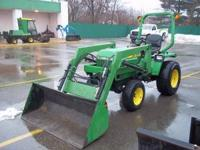 """JOHN DEERE 755 WITH LOADER TURF TIRES, HYDRO, HOURS"