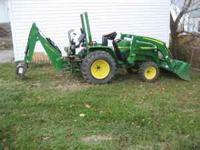 John Deere 790 diesel 4x4 tractor, JD 300 loader