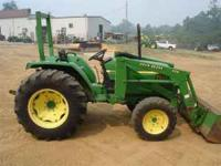 2002, 40 HP 4WD JOHN DEERE TRACTOR WITH LOADER HAS 1100
