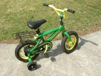 Nice John Deere bike with training wheels. Measures 22""
