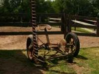 Horse drawn sickle mower on rubber, working order but