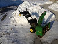 "John Deere Snowblower 8 HP 26"" wide  Nothing runs like"