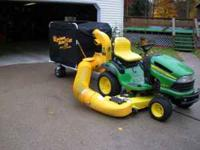 ALMOST NEW JOHN DEERE TRACTOR WITH 26 H.P. BRIGGS AND