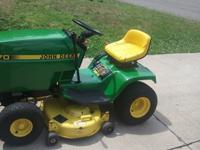 "John Deere 170 series lawn tractor with 38"" mower deck."