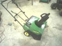 John Deere TRS 21 snow blower. 2 cycle engine. 21 inch
