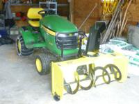 "48' 3 blade mower & 2"" 2 stage snow blower. Back tires"