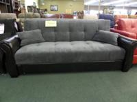 This brand-new futon sleeper sofa from Serta is as