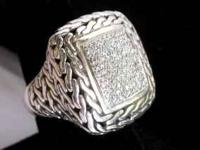 Gorgeous, large Sterling silver weave ring with diamond