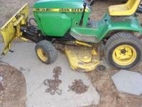 I have a John Deere 317 lawn mower for sale. It's in