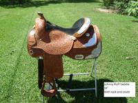 Beautiful Johnny Ruff show saddle with silver. 16""