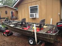 14' X 5' JON BOAT LOADED - 25 H.P. MERCURY MOTOR,