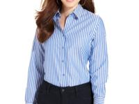 Jones New York Signature's striped button-front shirt