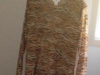 Jones New York Sport, women's large, sheer tiger print