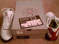 Selling white/black-true red air Jordan 13's size 9.