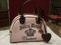 Juicy Couture Pink/Brown Bowling Bag Style Purse with