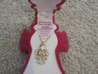 June birthstone necklace in shape of an angel. Comes in