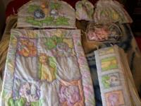 Jungle Animal Crib Bedding Set -Gently used & very