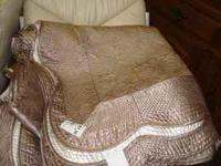 beautiful TAUPE color - satin / polyester bed coverlet