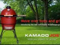 NEW & UNUSED KAMADO JOE cooker/grill. Used natural wood