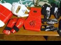 KARATE AND SPARNING PADS AND GEAR IN GOOD CONDITION.