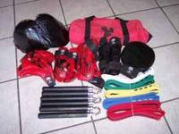 17 PIECE SPARING GEAR, 3 PAIRS OF NUNCHUCKS, AND BELTS