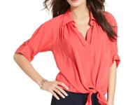Wrap up your look with Karen Kane's tie-hem blouse!