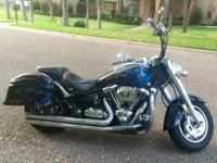 2005 custom beauty, blue ghost flames. V-twin metric