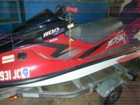 1997 Kawasaki 1100 jet ski red/black in color, well