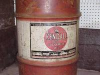"This Kendall oil drum is 29 1/4"" high and 18 5/8"" in"