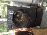 Front load washer with pedestal color is like black or