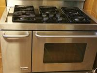 STAINLESS STEEL KENMORE ELITE GAS STOVE WITH 5 BURNES