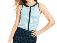 With an allover pin-dot print and Peter Pan collar,