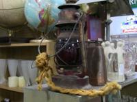 Rustic kerosene lamp with rope handle. Excellent,