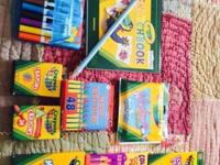Three boxes of crayons, markers, window markers,
